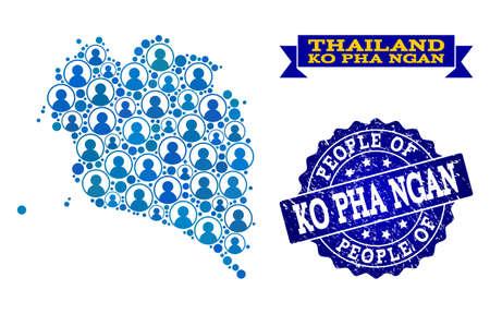 Ludzie kolaż niebieski mapa populacji Ko Pha Ngan i grunge pieczęć pieczęć. Wektor pieczęć z grunge tekstury gumy. Mozaikowa mapa Koh Phangan skonstruowana z zaokrąglonymi użytkownikami.