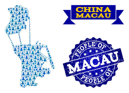 People combination of blue population map of Macau and unclean seal. Vector seal with grunge rubber texture. Mosaic map of Macau constructed with rounded users. Illustration