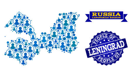 People collage of blue population map of Leningrad Region and scratched seal stamp. Vector watermark with scratched rubber texture. Mosaic map of Leningrad Region designed with rounded users. 矢量图像
