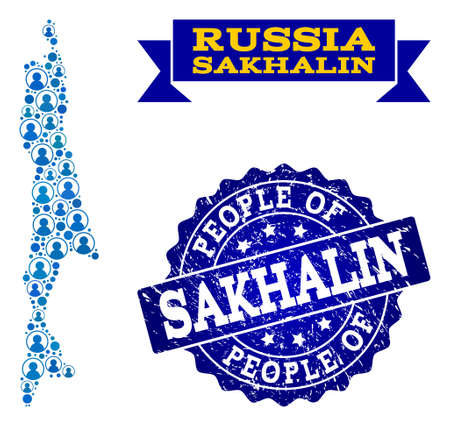People composition of blue population map of Sakhalin Island and rubber seal stamp. Vector imprint with grunge rubber texture. Mosaic map of Sakhalin Island constructed with rounded users.  イラスト・ベクター素材