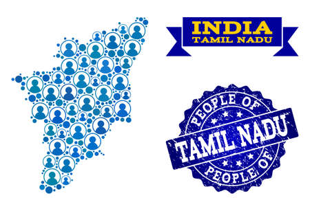 People collage of blue population map of Tamil Nadu State and scratched seal. Vector seal with scratched rubber texture. Mosaic map of Tamil Nadu State constructed with rounded users.  イラスト・ベクター素材