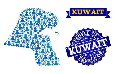People collage of blue population map of Kuwait and rubber seal. Vector seal with scratched rubber texture. Mosaic map of Kuwait designed with rounded users. Flat design for patriotic posters.