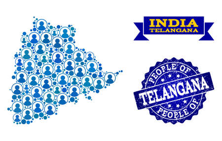 People combination of blue population map of Telangana State and rubber seal. Vector seal with grunge rubber texture. Mosaic map of Telangana State constructed with rounded users.