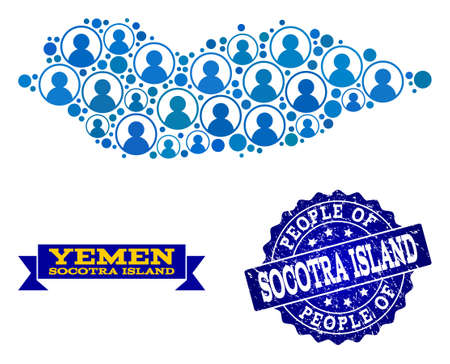 People combination of blue population map of Socotra Island and corroded seal stamp. Vector seal with unclean rubber texture. Mosaic map of Socotra Island designed with rounded users.