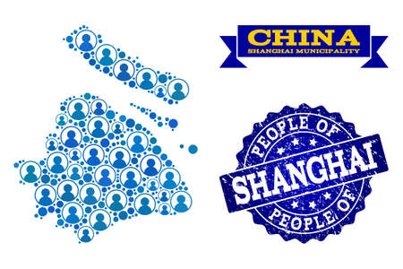 People collage of blue population map of Shanghai Municipality and rubber seal. Vector seal with distress rubber texture. Mosaic map of Shanghai Municipality designed with rounded users. Vectores