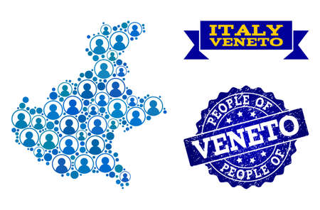 People collage of blue population map of Veneto region and textured seal stamp. Vector seal with distress rubber texture. Mosaic map of Veneto region constructed with rounded users.