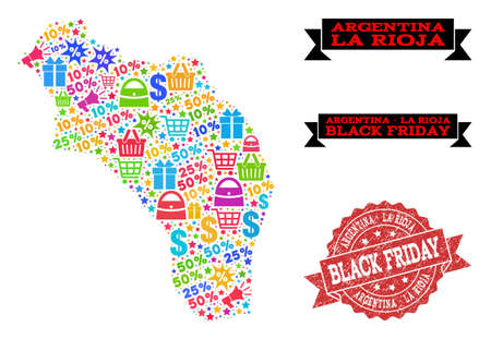 Black Friday composition of mosaic map of Argentina - La Rioja and unclean stamp seal. Vector red imprint with unclean rubber texture with Black Friday slogan. Flat design for advertisement templates.