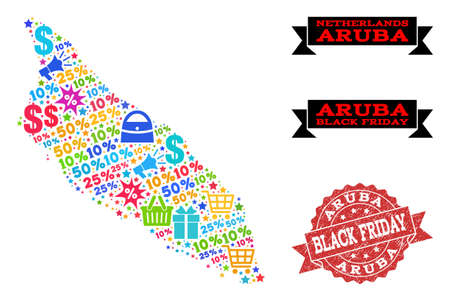 Black Friday collage of mosaic map of Aruba Island and rubber stamp seal. Vector red seal with grunge rubber texture with Black Friday text. Flat design for sale posters.