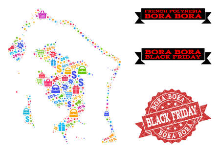 Black Friday composition of mosaic map of Bora-Bora and scratched stamp. Vector red watermark with scratched rubber texture with Black Friday title. Flat design for sale posters. Illustration