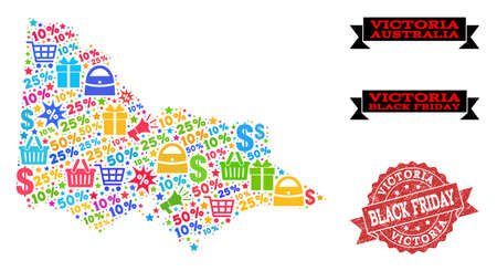 Black Friday composition of mosaic map of Australian Victoria and unclean stamp seal. Vector red seal with corroded rubber texture with Black Friday slogan. Flat design for shopping purposes.