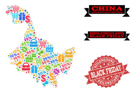 Black Friday composition of mosaic map of Heilongjiang Province and corroded seal. Vector red seal with corroded rubber texture with Black Friday title. Flat design for promotion purposes.