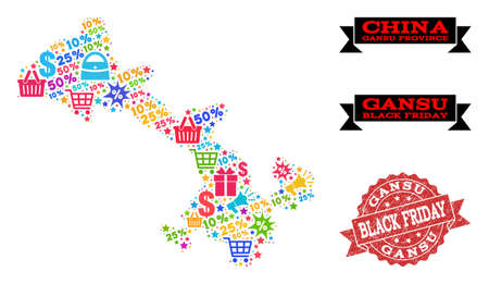 Black Friday collage of mosaic map of Gansu Province and corroded stamp seal. Vector red seal with corroded rubber texture with Black Friday slogan. Flat design for trade templates.
