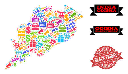 Black Friday composition of mosaic map of Odisha State and corroded seal. Vector red imprint with corroded rubber texture with Black Friday slogan. Flat design for shopping purposes. Иллюстрация