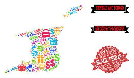 Black Friday collage of mosaic map of Trinidad and Tobago and rubber stamp. Vector red watermark with grunge rubber texture with Black Friday title. Flat design for sale purposes. Vetores