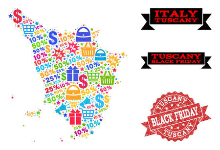 Black Friday composition of mosaic map of Tuscany region and scratched seal. Vector red seal with grunge rubber texture with Black Friday caption. Flat design for shopping templates. Ilustrace