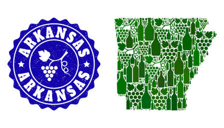 Vector collage of wine map of Arkansas State and grape grunge stamp. Map of Arkansas State collage formed with bottles and grape berries bunches.