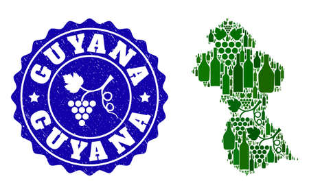 Vector collage of wine map of Guyana and grape grunge stamp. Map of Guyana collage formed with bottles and grape berries bunches.
