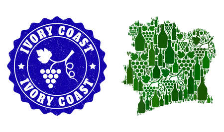 Vector composition of wine map of Ivory Coast and grape grunge seal. Map of Ivory Coast collage created with bottles and grape berries bunches.
