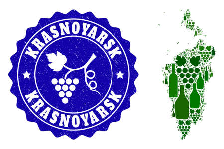 Vector collage of wine map of Krasnoyarskiy Kray and grape grunge seal. Map of Krasnoyarskiy Kray collage designed with bottles and grape berries bunches.