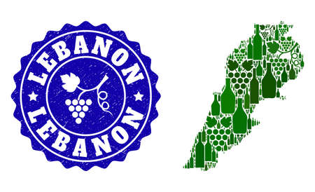 Vector collage of wine map of Lebanon and grape grunge seal stamp. Map of Lebanon collage composed with bottles and grape berries bunches.