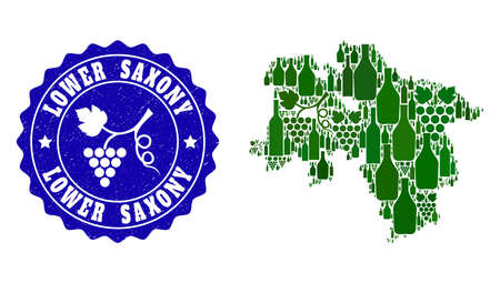 Vector collage of wine map of Lower Saxony State and grape grunge seal stamp. Map of Lower Saxony State collage designed with bottles and grape berries bunches.