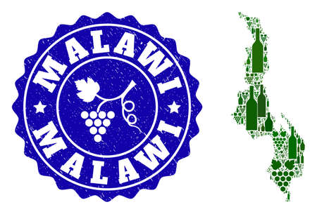 Vector composition of wine map of Malawi and grape grunge seal stamp. Map of Malawi collage composed with bottles and grape berries bunches.