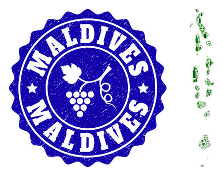 Vector collage of wine map of Maldives and grape grunge stamp. Map of Maldives collage formed with bottles and grape berries bunches. Illustration