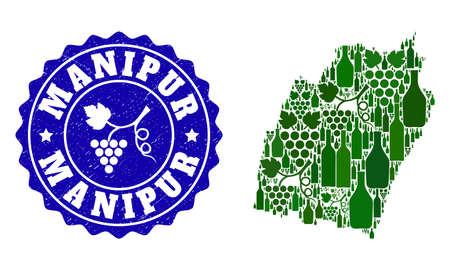 Vector collage of wine map of Manipur State and grape grunge seal. Map of Manipur State collage composed with bottles and grape berries bunches.