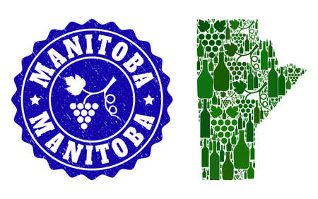 Vector collage of wine map of Manitoba Province and grape grunge stamp. Map of Manitoba Province collage created with bottles and grape berries bunches.