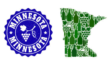 Vector collage of wine map of Minnesota State and grape grunge seal stamp. Map of Minnesota State collage composed with bottles and grape berries bunches.