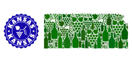 Vector collage of wine map of Kansas State and grape grunge seal stamp. Map of Kansas State collage composed with bottles and grape berries bunches. Illustration