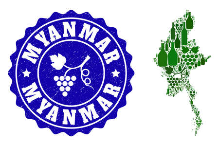 Vector collage of wine map of Myanmar and grape grunge seal. Map of Myanmar collage composed with bottles and grape berries bunches.