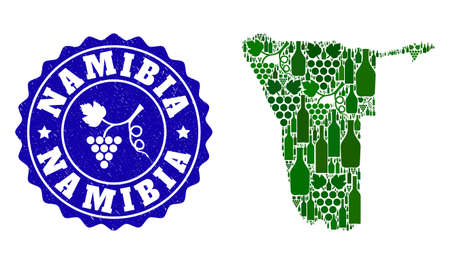 Vector collage of wine map of Namibia and grape grunge stamp. Map of Namibia collage composed with bottles and grape berries bunches.