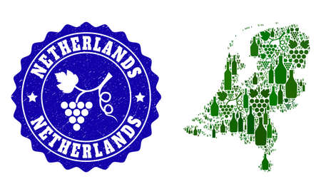 Vector collage of wine map of Netherlands and grape grunge seal. Map of Netherlands collage created with bottles and grape berries bunches. Illustration