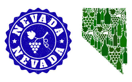 Vector collage of wine map of Nevada State and grape grunge seal. Map of Nevada State collage composed with bottles and grape berries bunches.