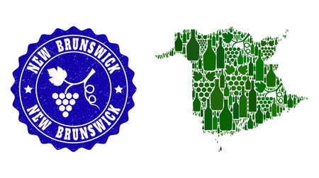 Vector combination of wine map of New Brunswick Province and grape grunge stamp. Map of New Brunswick Province collage designed with bottles and grape berries bunches. Illustration