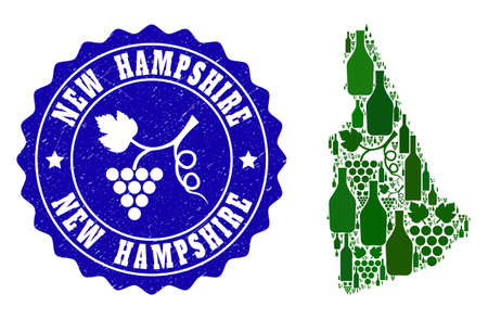 Vector collage of wine map of New Hampshire State and grape grunge seal. Map of New Hampshire State collage formed with bottles and grape berries bunches. Illustration