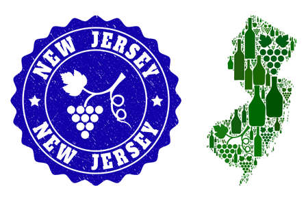 Vector collage of wine map of New Jersey State and grape grunge seal stamp. Map of New Jersey State collage designed with bottles and grape berries bunches.
