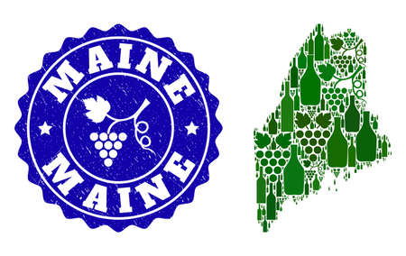 Vector collage of wine map of Maine State and grape grunge stamp. Map of Maine State collage created with bottles and grape berries bunches.