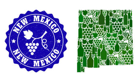 Vector combination of wine map of New Mexico State and grape grunge stamp. Map of New Mexico State collage formed with bottles and grape berries bunches.