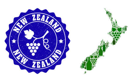 Vector collage of wine map of New Zealand and grape grunge seal stamp. Map of New Zealand collage created with bottles and grape berries bunches.