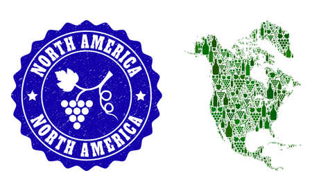 Vector collage of wine map of North America and grape grunge seal. Map of North America collage designed with bottles and grape berries bunches.