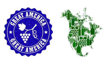 Vector collage of wine map of North America and grape grunge seal. Map of North America collage created with bottles and grape berries bunches. Illustration