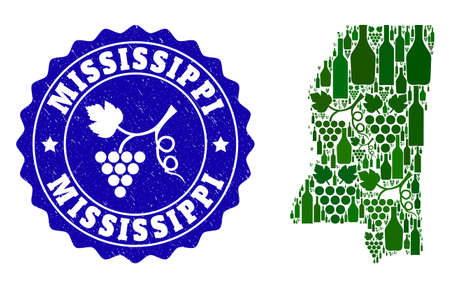 Vector collage of wine map of Mississippi State and grape grunge stamp. Map of Mississippi State collage formed with bottles and grape berries bunches.