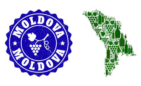 Vector collage of wine map of Moldova and grape grunge seal. Map of Moldova collage formed with bottles and grape berries bunches.
