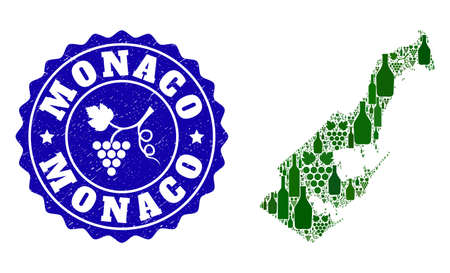 Vector collage of wine map of Monaco and grape grunge seal. Map of Monaco collage created with bottles and grape berries bunches.