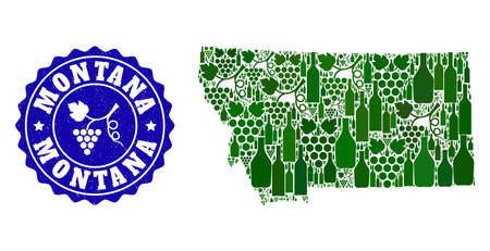 Vector collage of wine map of Montana State and grape grunge stamp. Map of Montana State collage composed with bottles and grape berries bunches. Illustration