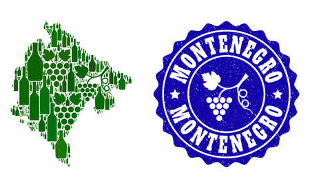 Vector collage of wine map of Montenegro and grape grunge seal. Map of Montenegro collage composed with bottles and grape berries bunches.