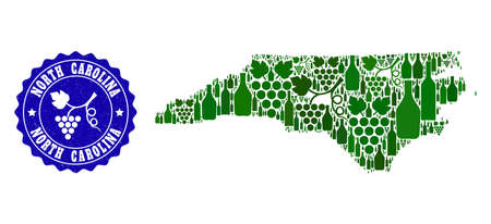 Vector collage of wine map of North Carolina State and grape grunge seal stamp. Map of North Carolina State collage composed with bottles and grape berries bunches. Illustration