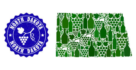Vector collage of wine map of North Dakota State and grape grunge seal stamp. Map of North Dakota State collage designed with bottles and grape berries bunches.